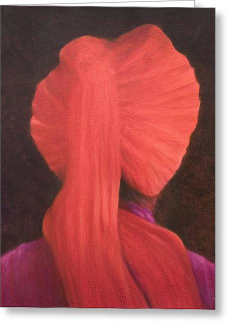 Indian Headdress Greeting Cards - Red Turban In Shadow Greeting Card by Lincoln Seligman