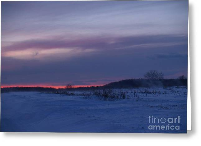 Winter Road Scenes Greeting Cards - Red Twilight Glow in Milford Township Greeting Card by Anna Lisa Yoder