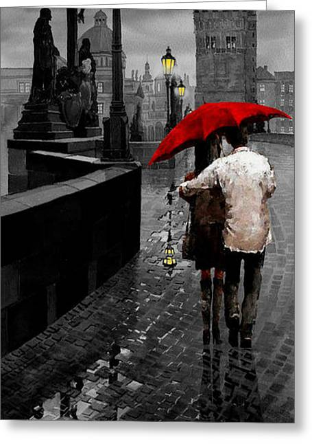 Umbrella Greeting Cards - Red Umbrella 2 Greeting Card by Yuriy Shevchuk