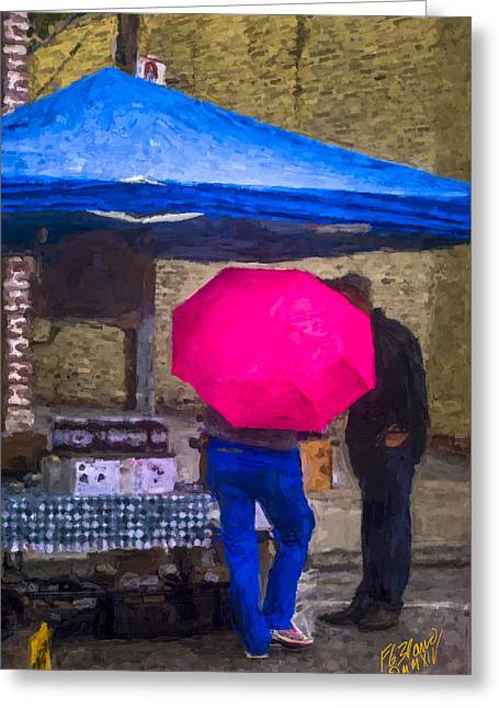 Red Umbrella - Chalk Painting Greeting Card by F Leblanc