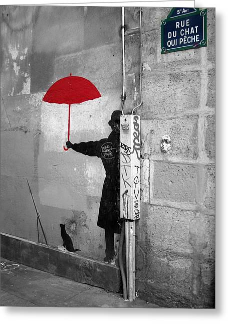Paris Black Cats Greeting Cards - Red Umbrella in a Paris Alley Greeting Card by Scott Carda