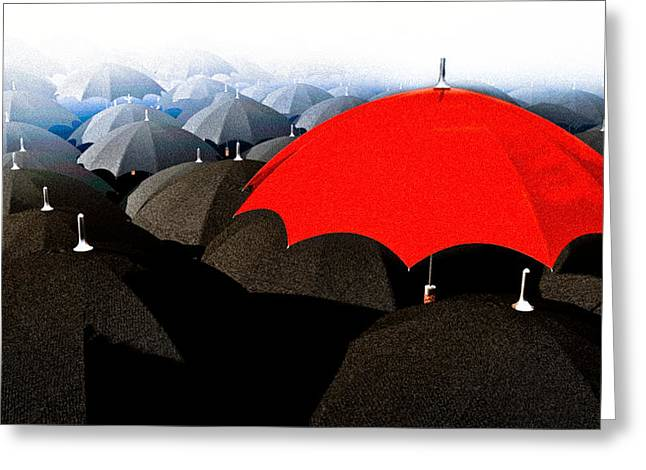 Free Will Greeting Cards - Red Umbrella In The City Greeting Card by Bob Orsillo