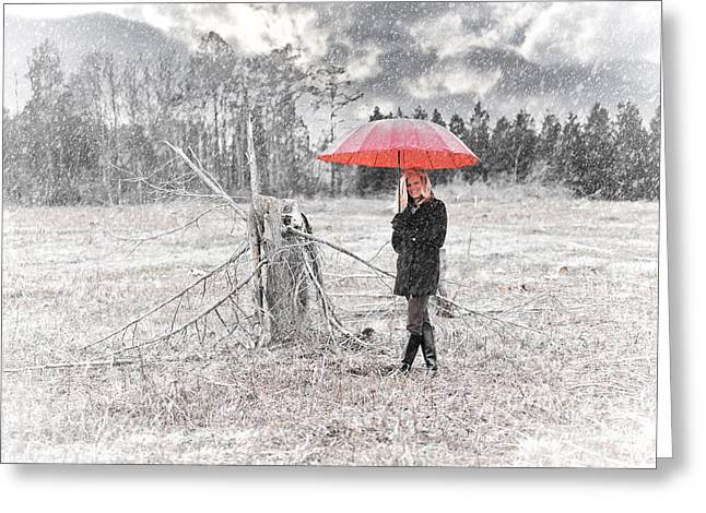 Black Boots Photographs Greeting Cards - Red Umbrella in the Snow Greeting Card by Jt PhotoDesign