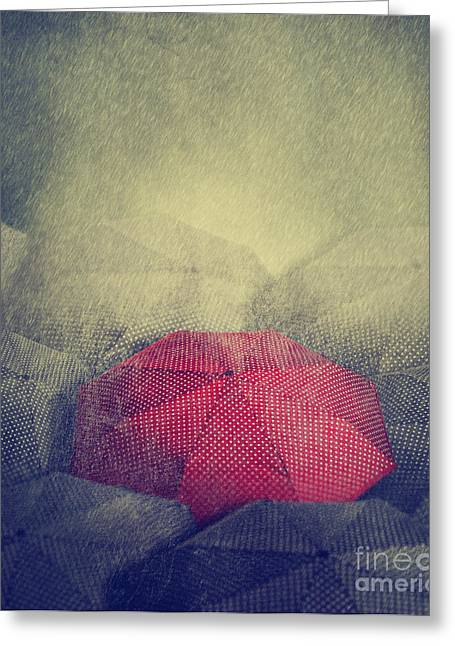 Corporate Business Greeting Cards - Red Umbrella Greeting Card by Jelena Jovanovic