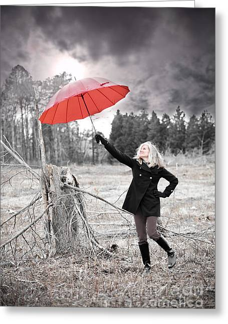Black Boots Photographs Greeting Cards - Red Umbrella Greeting Card by Jt PhotoDesign