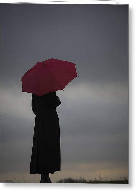 Lonelyness Greeting Cards - Red Umbrella Greeting Card by Maria Heyens