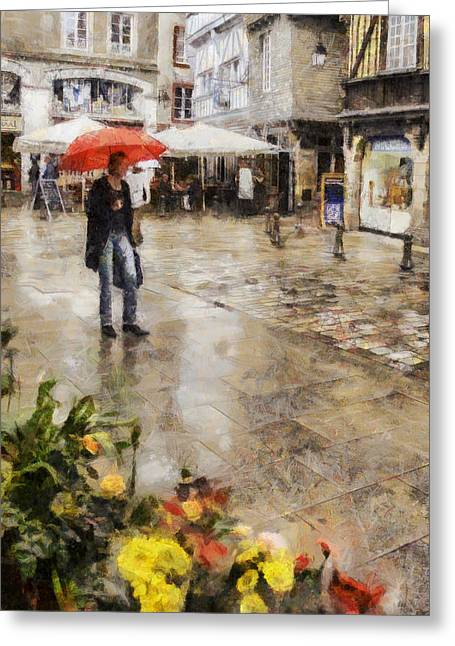 Dap Greeting Cards - Red Umbrella Greeting Card by Nigel R Bell