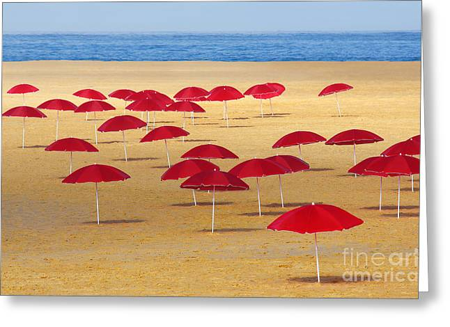 Tropical Oceans Photographs Greeting Cards - Red Umbrellas Greeting Card by Carlos Caetano