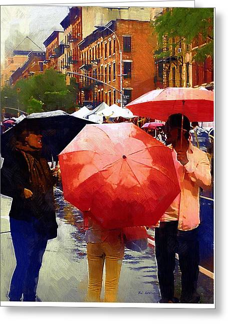 Red Umbrellas In The Rain Greeting Card by RC deWinter