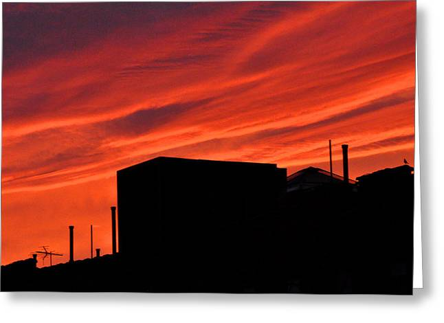 Red Urban Sky Greeting Card by Diane Lent
