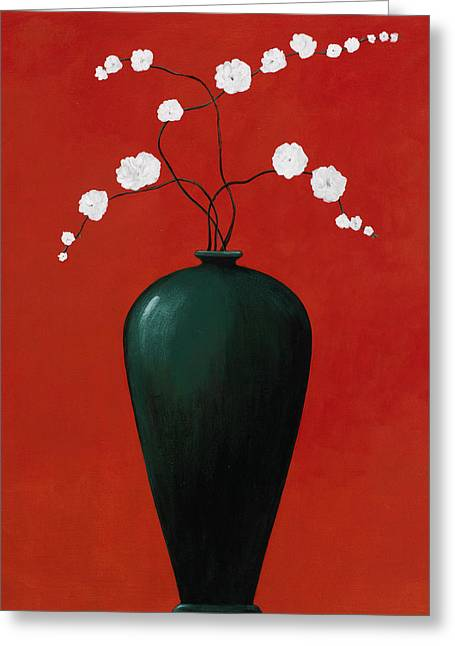 Pablo Paintings Greeting Cards - Red Vase 1 Greeting Card by Pablo Esteban