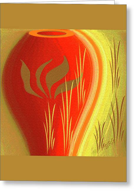 Red And Gold Leaves Greeting Cards - Red Vase Greeting Card by Ben and Raisa Gertsberg