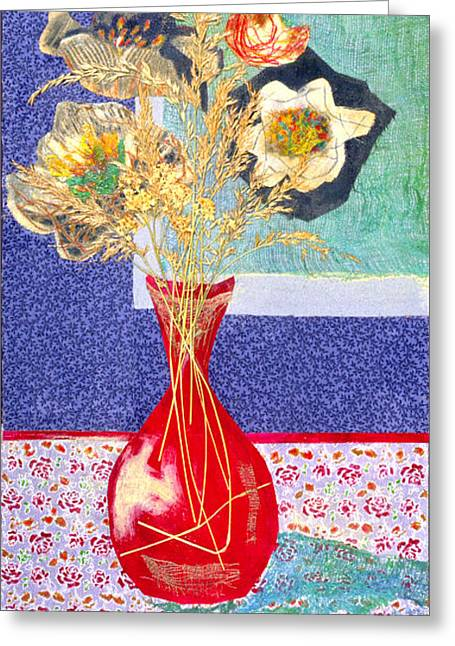 Diane Fine Greeting Cards - Red Vase I Greeting Card by Diane Fine
