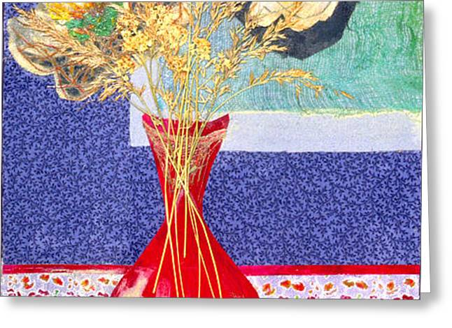 Red Vase I Greeting Card by Diane Fine