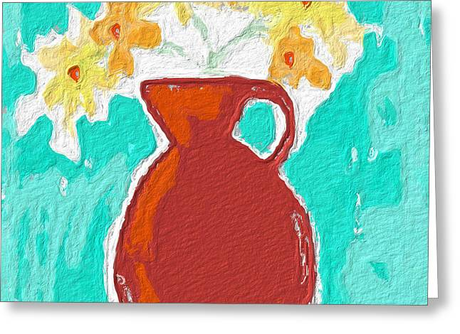 Red Flowers Greeting Cards - Red Vase Of Flowers Greeting Card by Linda Woods