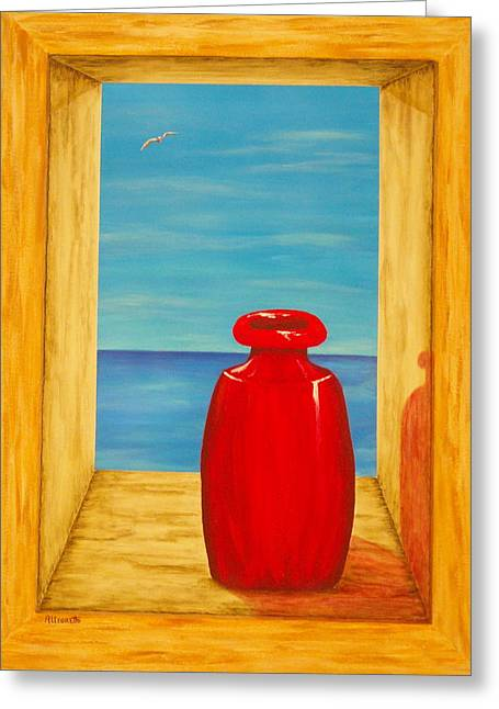 Warm Tones Greeting Cards - Red Vase Greeting Card by Pamela Allegretto