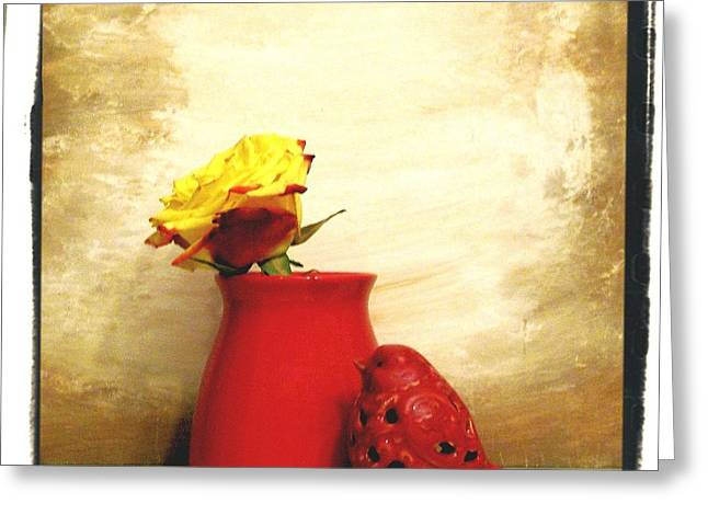 Brown Tones Greeting Cards - Red Vase Red Bird and Red Yellow Rose Greeting Card by Marsha Heiken