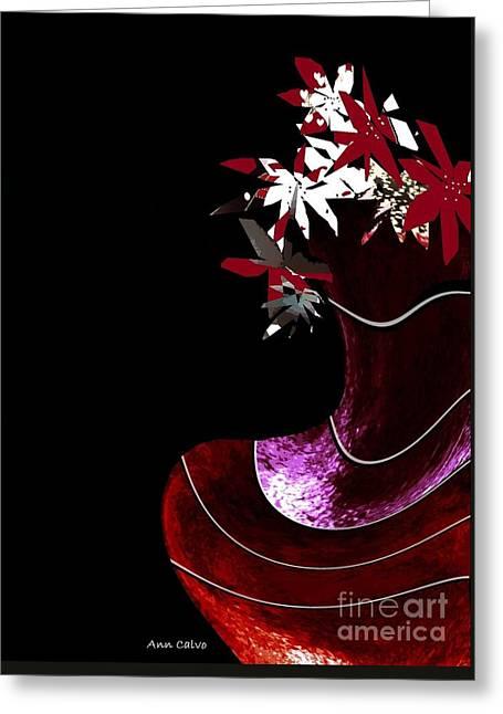 Red Vase Greeting Card by Ann Calvo