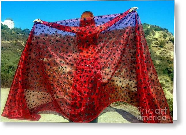 Gothic Tapestries - Textiles Greeting Cards - Red veil. Ameynra bellydance fashion Greeting Card by Ameynra Fashion