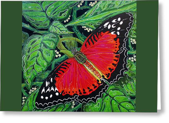 Debbie Chamberlin Greeting Cards - Red Butterfly Greeting Card by Debbie Chamberlin