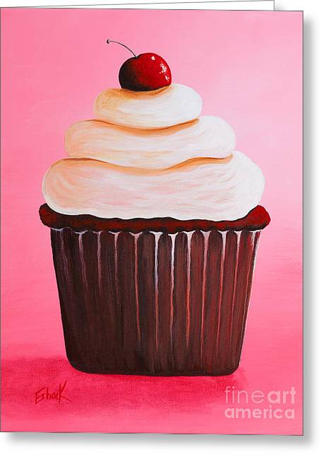Restaurant On Top Greeting Cards - Red Velvet Cupcake by Shawna Erback Greeting Card by Shawna Erback