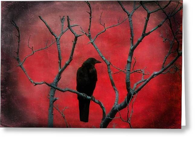 Corvus Greeting Cards - Red Velvet Greeting Card by Gothicolors Donna Snyder