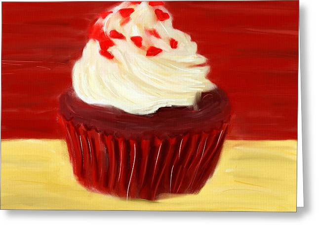 Food Digital Art Greeting Cards - Red Velvet Greeting Card by Lourry Legarde