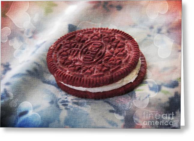 Oreo Photographs Greeting Cards - Red Velvet Oreo Cookie Romance Greeting Card by Shelly Weingart