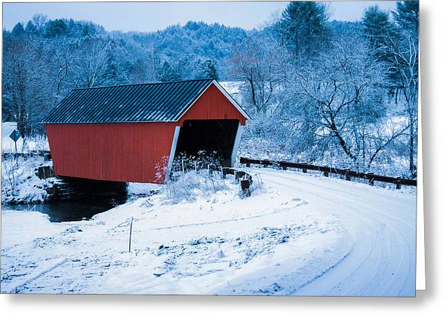 New England Greeting Cards - Red Vermont covered bridge Greeting Card by Jeff Folger