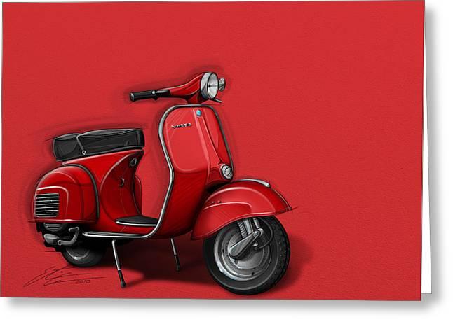 Red Vespa Greeting Card by Etienne Carignan