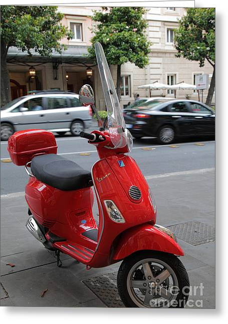 Europe Greeting Cards - Red Vespa Greeting Card by Inge Johnsson