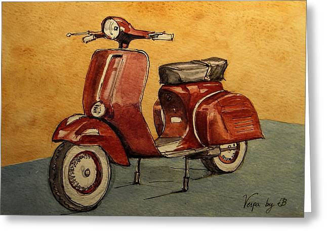 1960 Paintings Greeting Cards - Red Vespa Greeting Card by Juan  Bosco