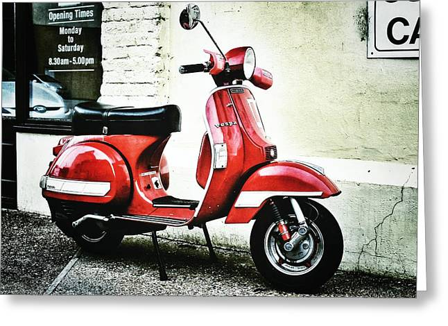 Funny Scooter Greeting Cards - Red Vespa Greeting Card by Pedro Fernandez