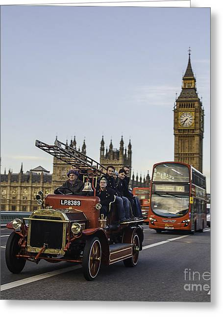 Brigade Greeting Cards - Red Veteran Fire Engine and Bus on Westminster Bridge Greeting Card by Philip Pound