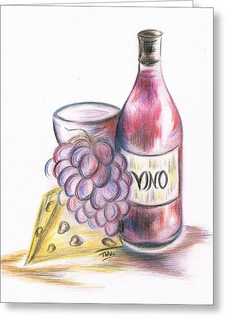 Vinos Mixed Media Greeting Cards - Red Vino taken with Cheddar Cheese Greeting Card by Teresa White