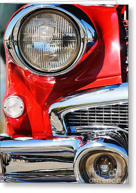 Chrome Mixed Media Greeting Cards - Red Vintage Buick Greeting Card by AdSpice Studios