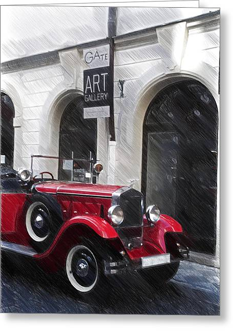 Post-war Greeting Cards - Red Vintage Car Greeting Card by Jenny Rainbow