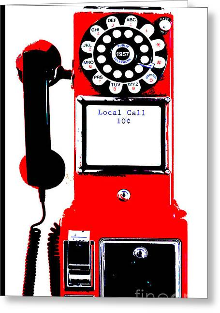 Smart Mixed Media Greeting Cards - Red Vintage Telephone Pop Art Greeting Card by ArtyZen Studios