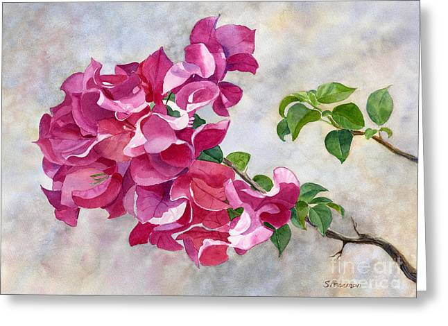 Red Violet Bougainvillea With Textured Background Greeting Card by Sharon Freeman
