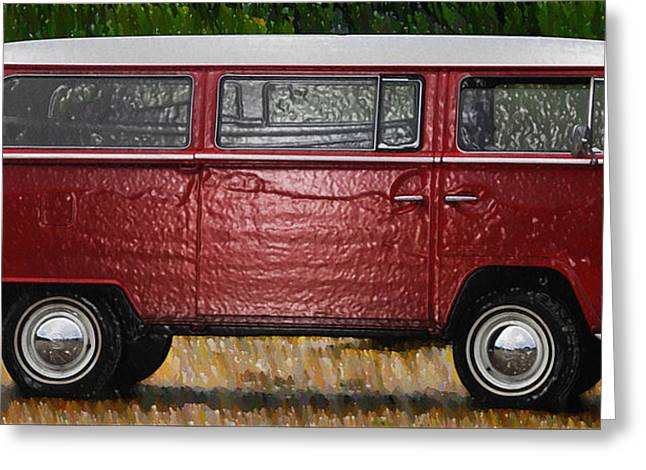 Hippie Volkswagon Greeting Cards - Red Volkswagon Microbus Greeting Card by Bill Cannon