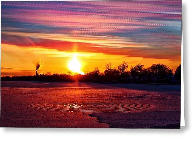 Time Stack Greeting Cards - Red vs Blue Greeting Card by Matt Molloy