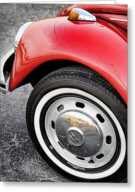 Original Vw Beetle Greeting Cards - Red VW Beetle 1973 Greeting Card by Gordon Dean II