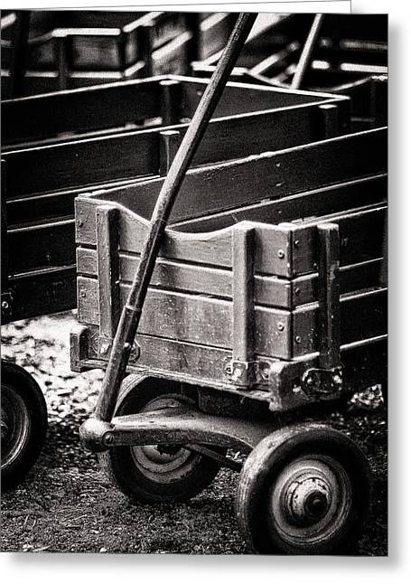 Red Wagon Greeting Cards - Red Wagon BW Greeting Card by Patrick M Lynch