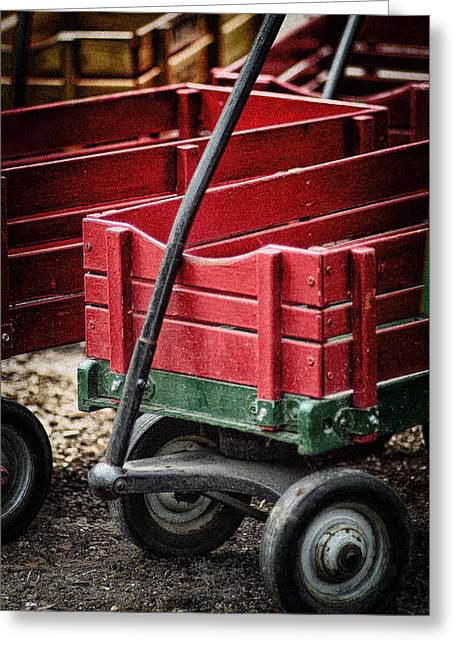 Pull Greeting Cards - Red Wagon C Greeting Card by Patrick M Lynch