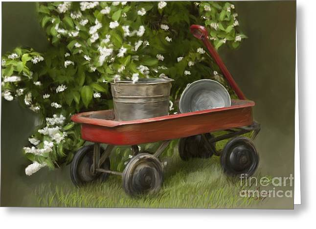 Wagon Digital Art Greeting Cards - Red Wagon Greeting Card by Lena Auxier