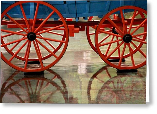 Red Wagon Greeting Cards - Red Wagon Wheel Reflection Greeting Card by Dan Sproul