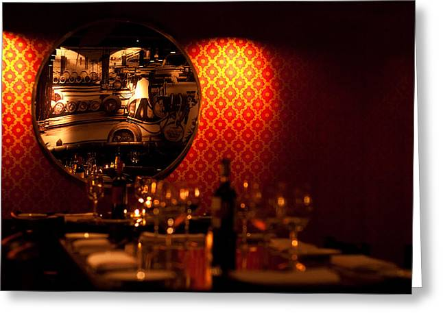 Red Wine Greeting Cards - Red Wall and Dinner Table Greeting Card by Jess Kraft
