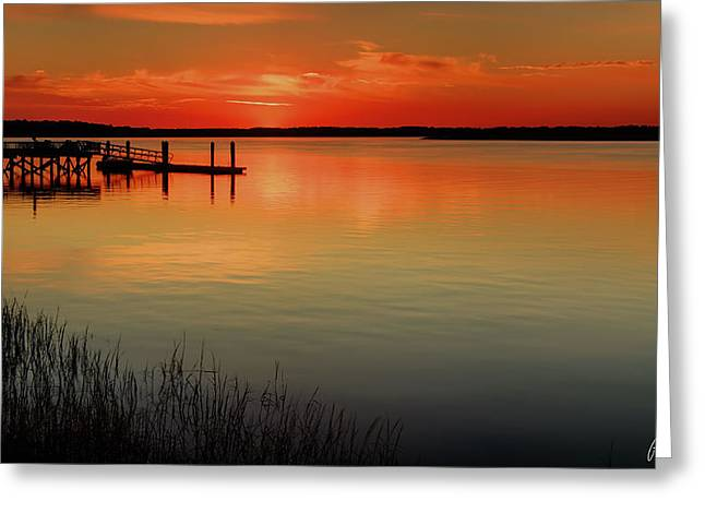 Best Sellers -  - Sunset Framed Prints Greeting Cards - Red Water Greeting Card by Phill  Doherty