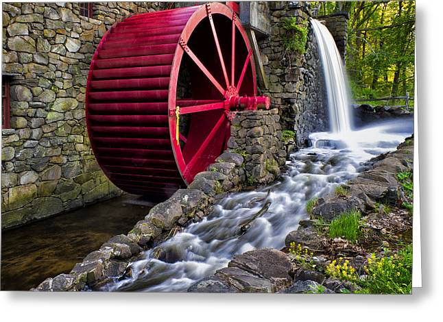 Sudbury River Greeting Cards - Red Water Wheel Greeting Card by Karen Celella