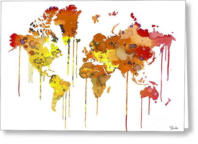 Continent Paintings Greeting Cards - Red WATERCOLOR MAP Greeting Card by Luke and Slavi